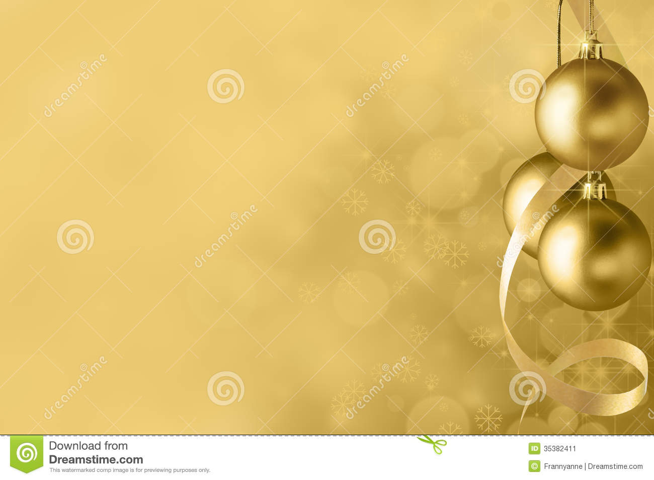 Stock Image Gold Christmas Bauble Background Festive Baubles Spiral Streamer Right Circles Bokeh Glow Sparkling Stars Image35382411 on Spiral Frame