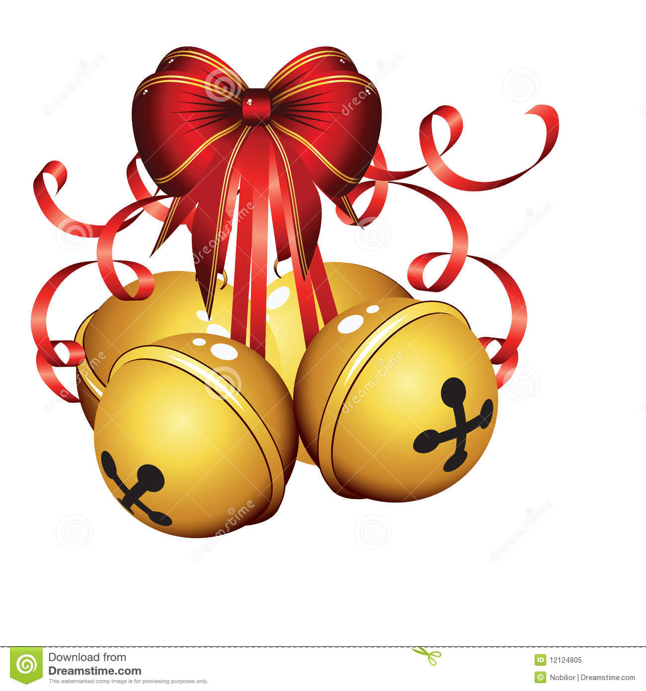 Gold Christmas Bells Isolated Stock Vector Image 12124805