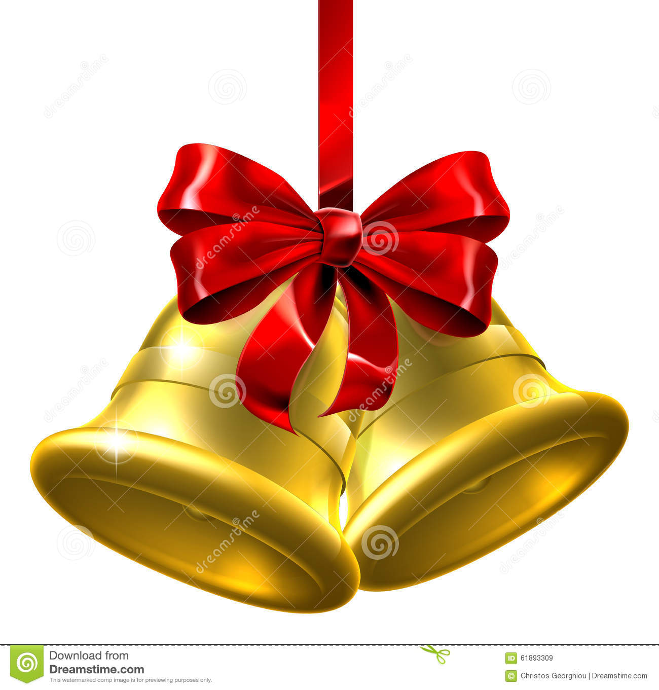 Gold Christmas Bells With Red Bow Stock Vector Image