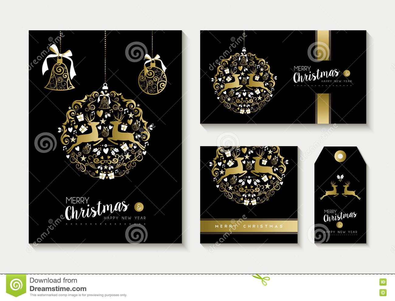 gold christmas card and label design template set
