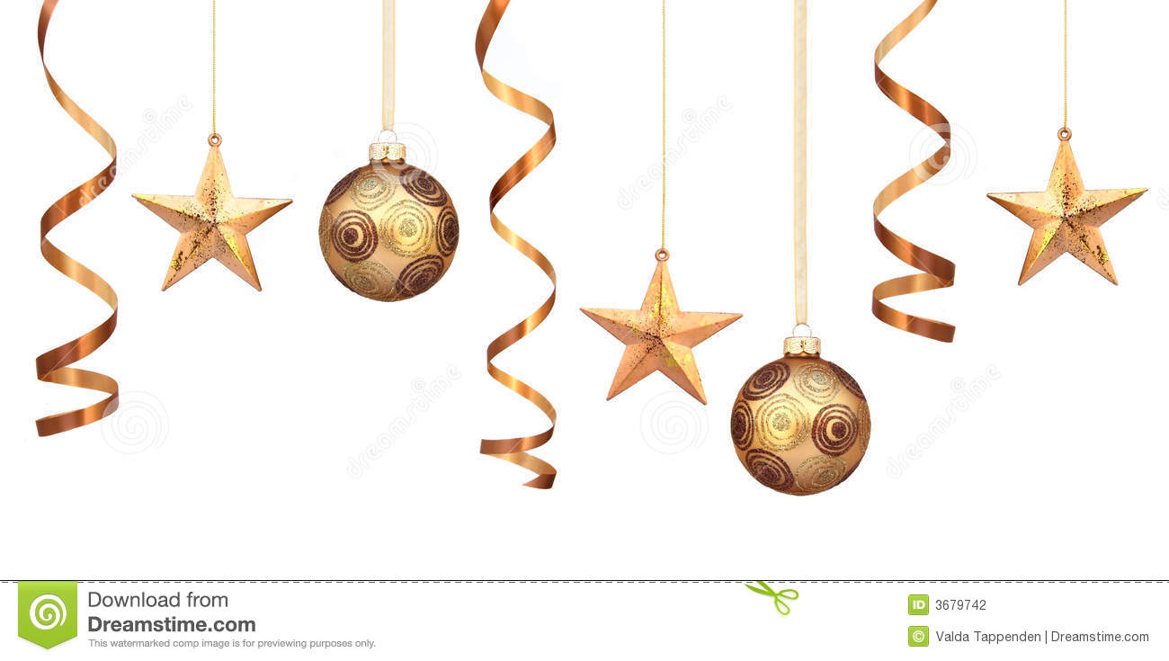 Gold Christmas Decorations Stock Photo Image Of Hanging