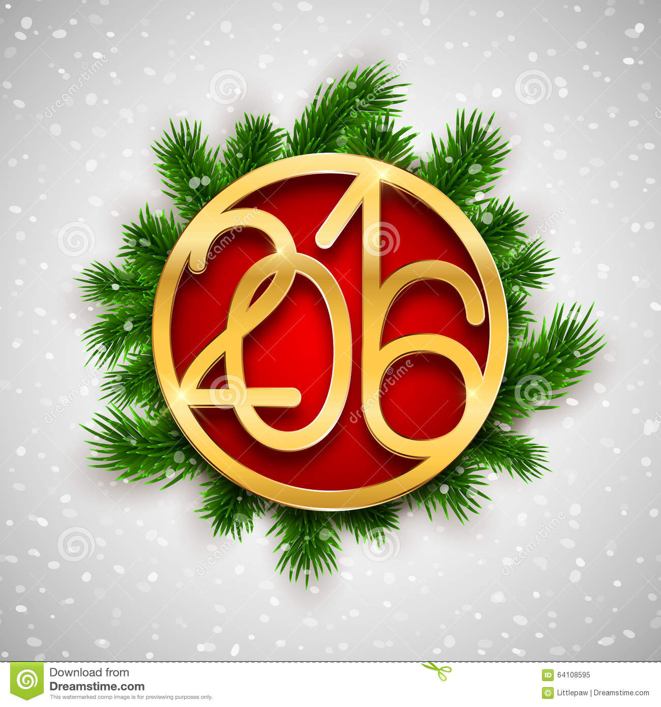 Gold Christmas 2016 design, New Year greeting card, vector ...