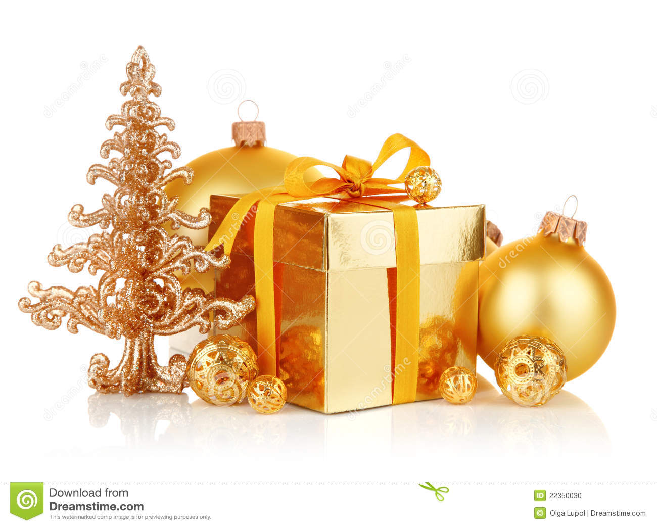 Gold christmas gift with balls stock photo image
