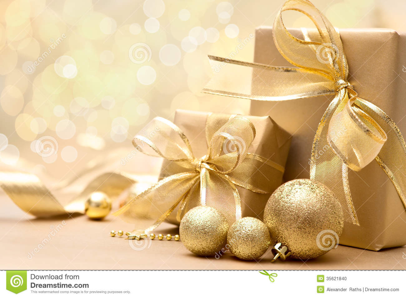 Gold Christmas Gift Boxes Stock Photo - Image: 35621840