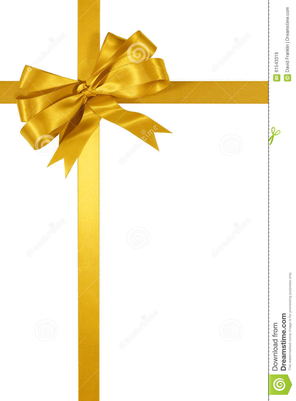 Download Gold Christmas Gift Ribbon Bow Isolated On White Background Vertical Stock Image