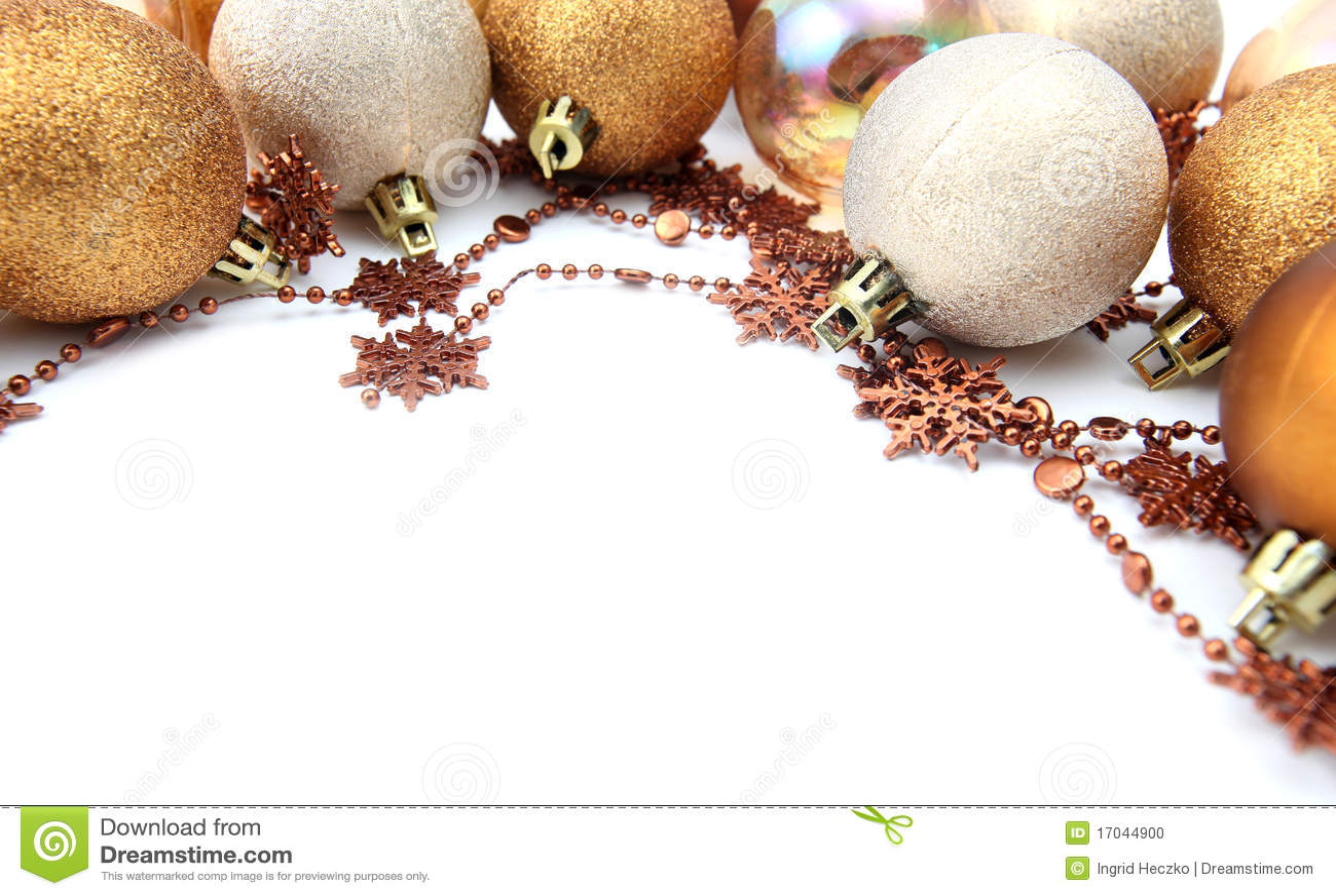 Gold christmas ornament border stock photo image