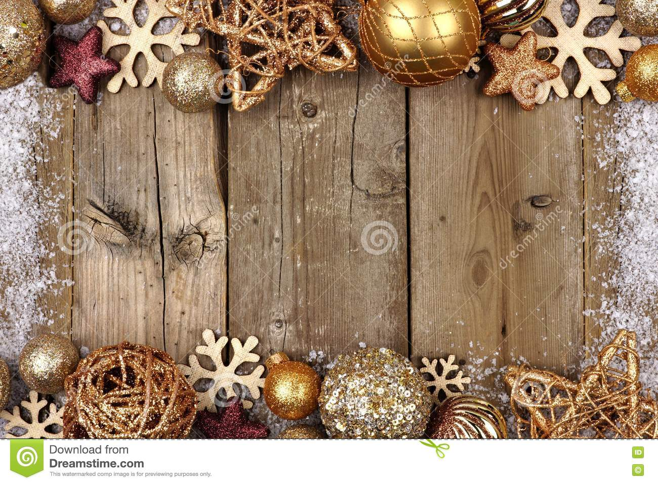 Gold Christmas Ornament Double Border With Snow Frame On Wood ...