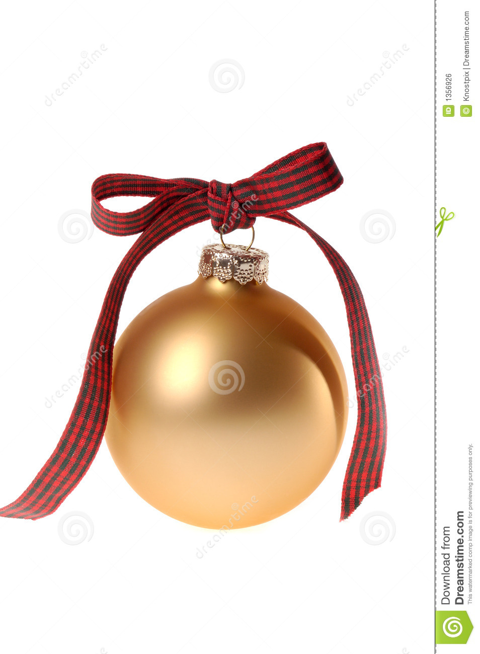 Gold Christmas ornament glass ball with plaid ribbon