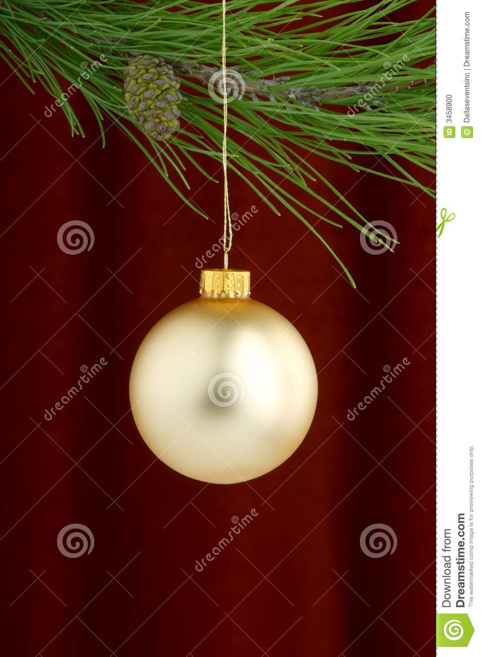 Gold Christmas Ornaments On Burgundy Background Stock Photo Image