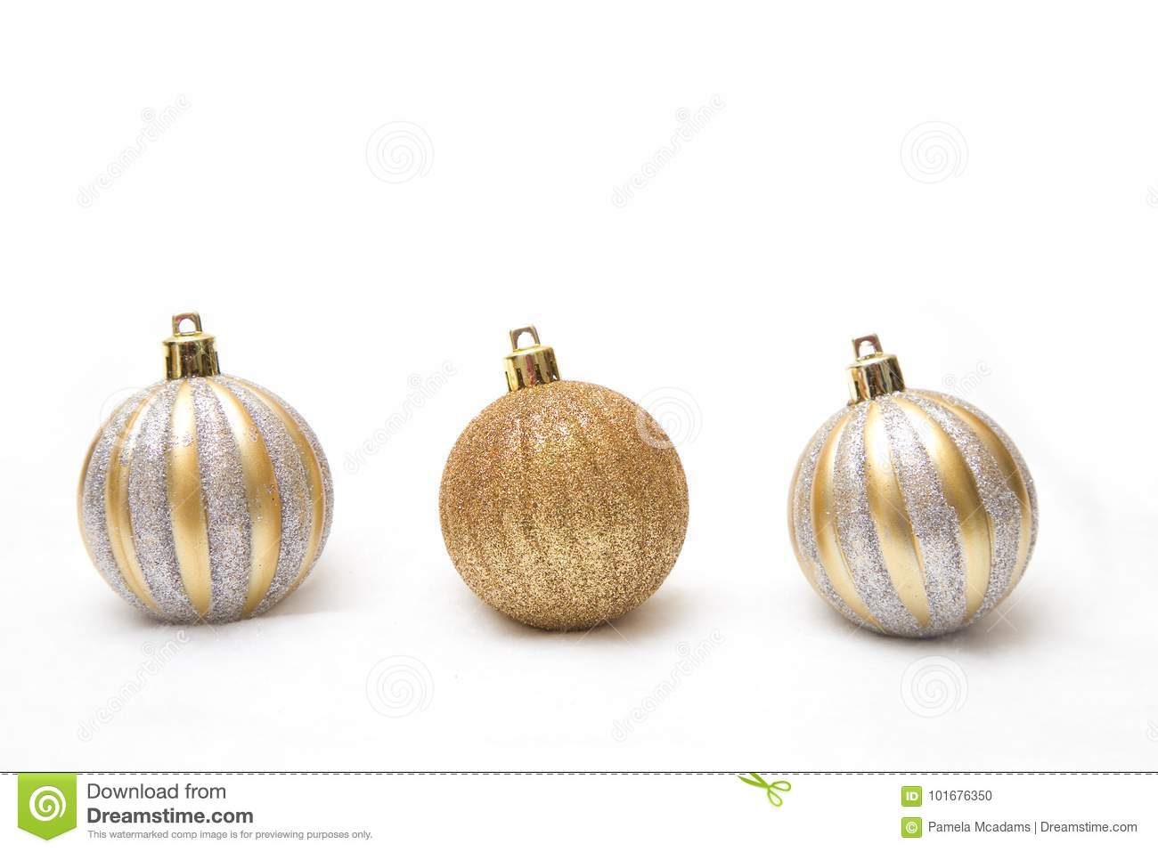 a gold christmas ornament on a white background - White And Gold Christmas Ornaments
