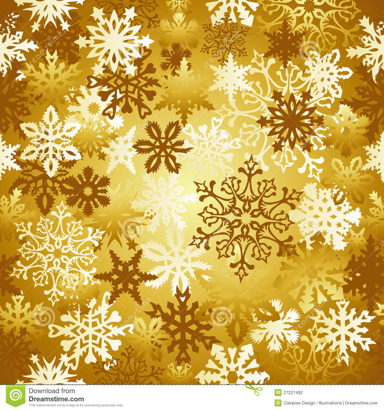 download gold christmas snowflakes pattern stock vector illustration of glossy light 27227492 - Gold Christmas