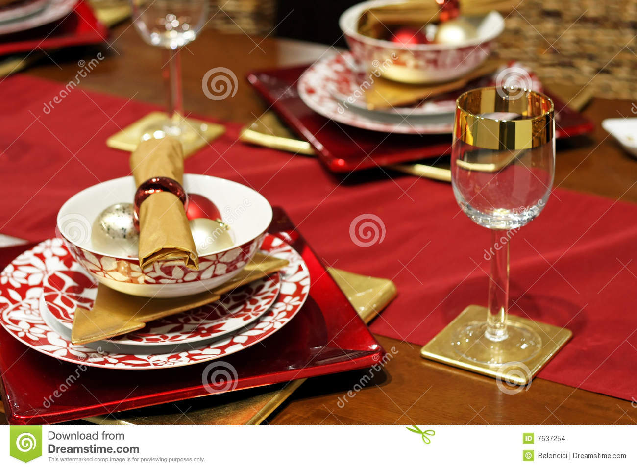 Gold christmas table stock photo image of