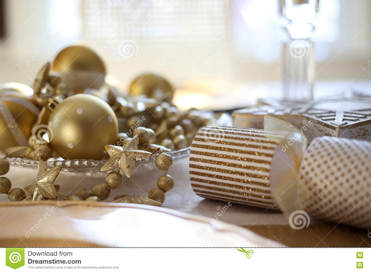 Dining Table Draped In Golden Christmas Decor