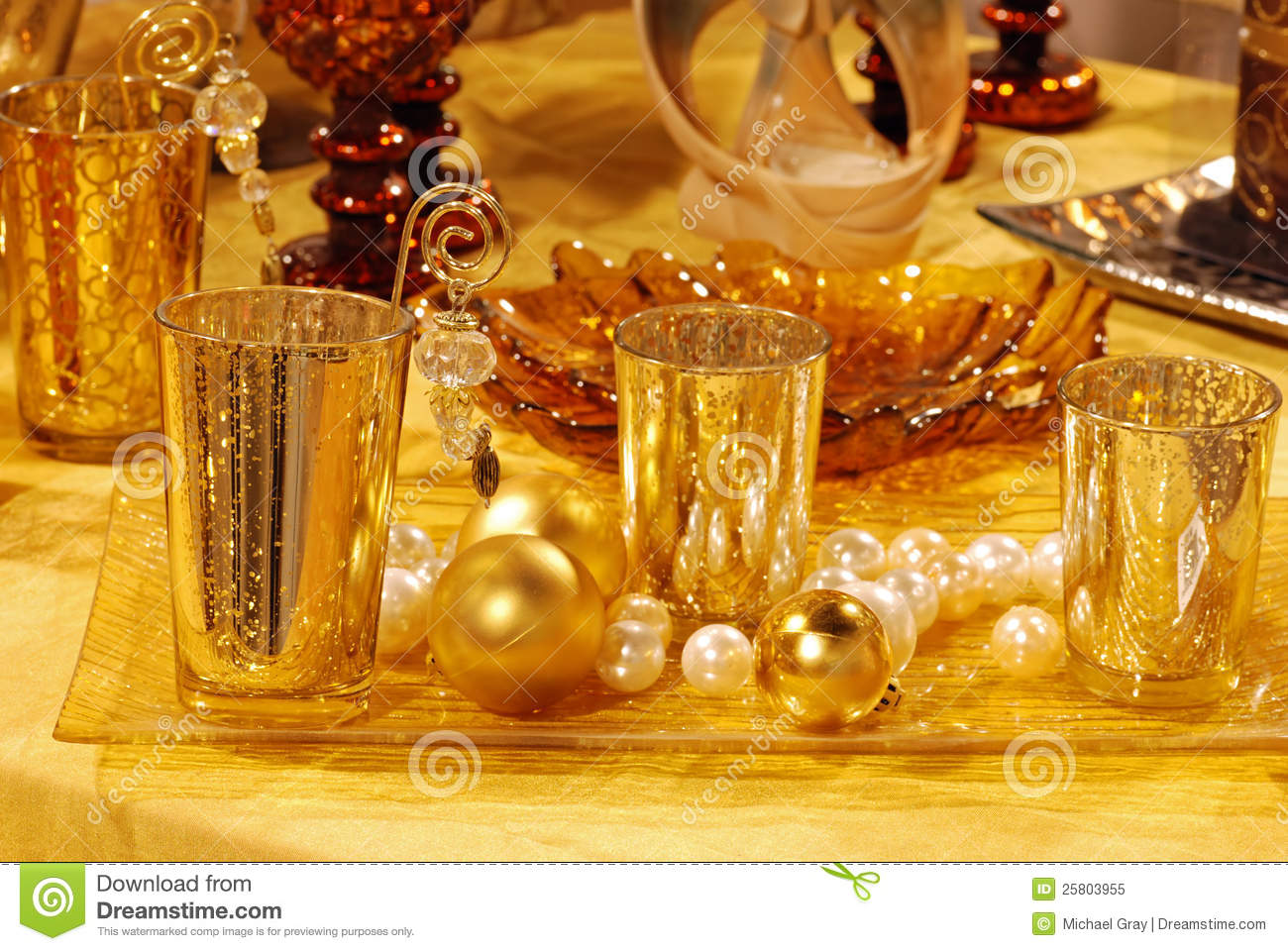 Gold Christmas Table Decorations Stock Image Image 25803955