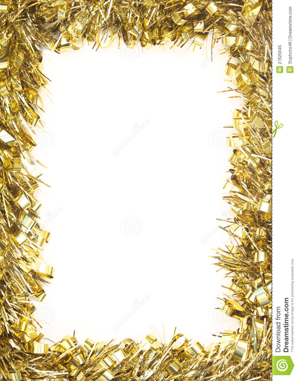 Gold christmas tinsel garland stock image