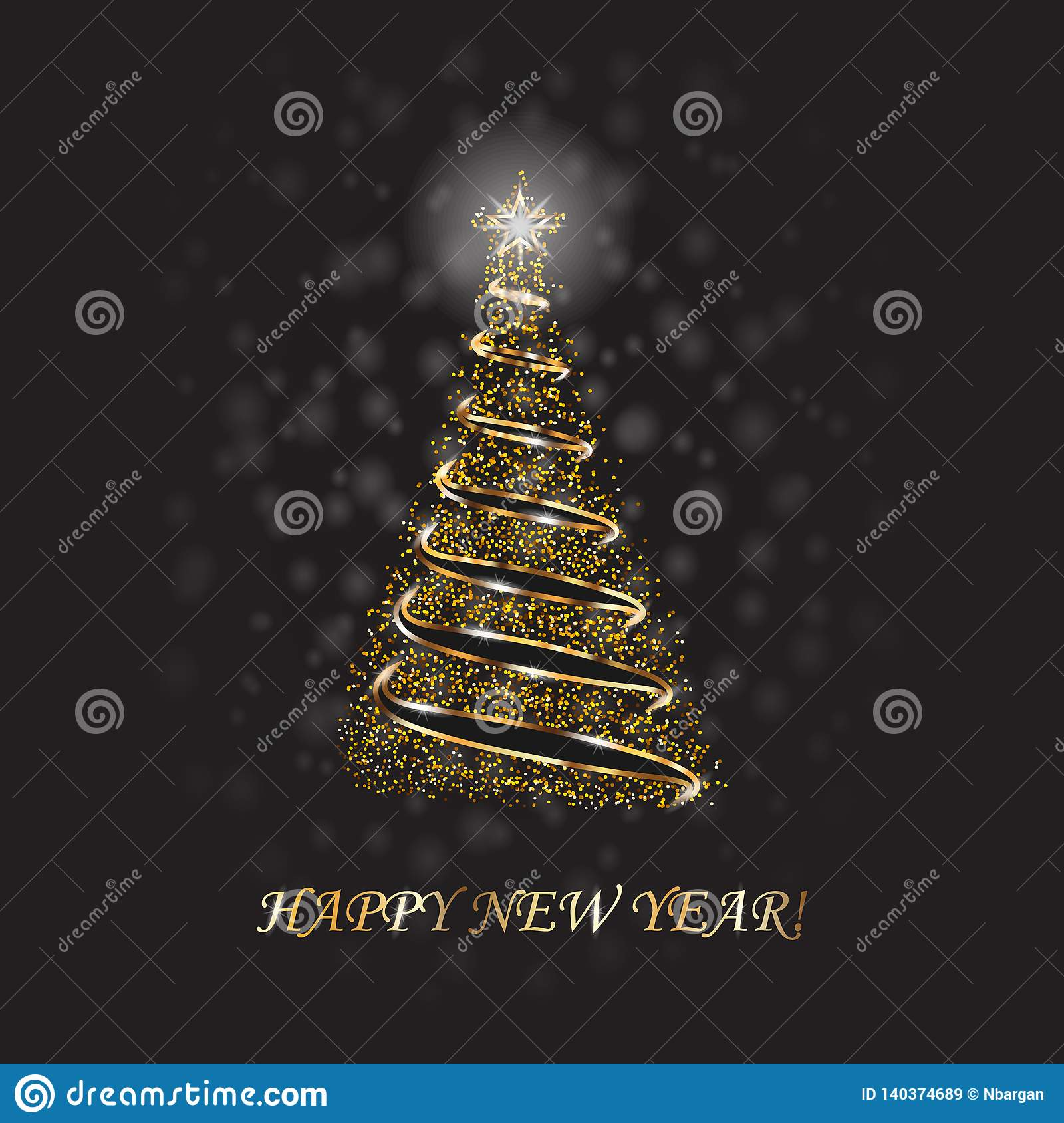 Gold Christmas Tree As Symbol Of Happy New Year, Merry ...