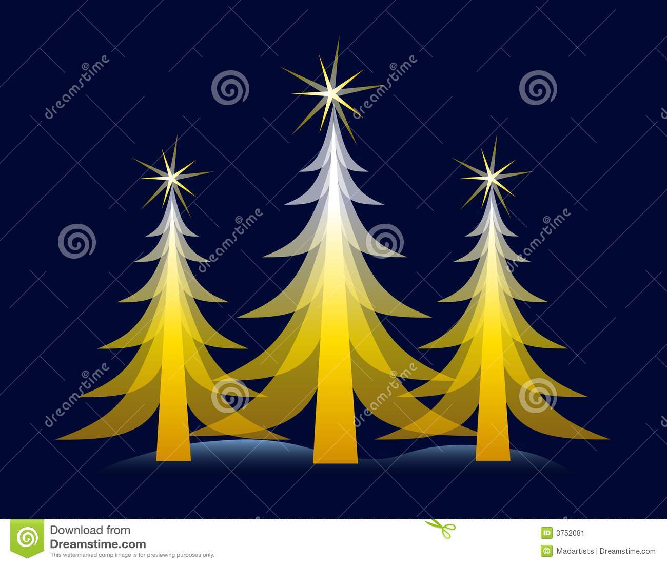 Gold christmas tree on blue card stock illustration for Blue and gold christmas