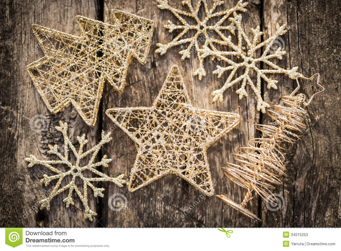 Gold Christmas Tree Decorations On Grunge Wood Stock Photos ...