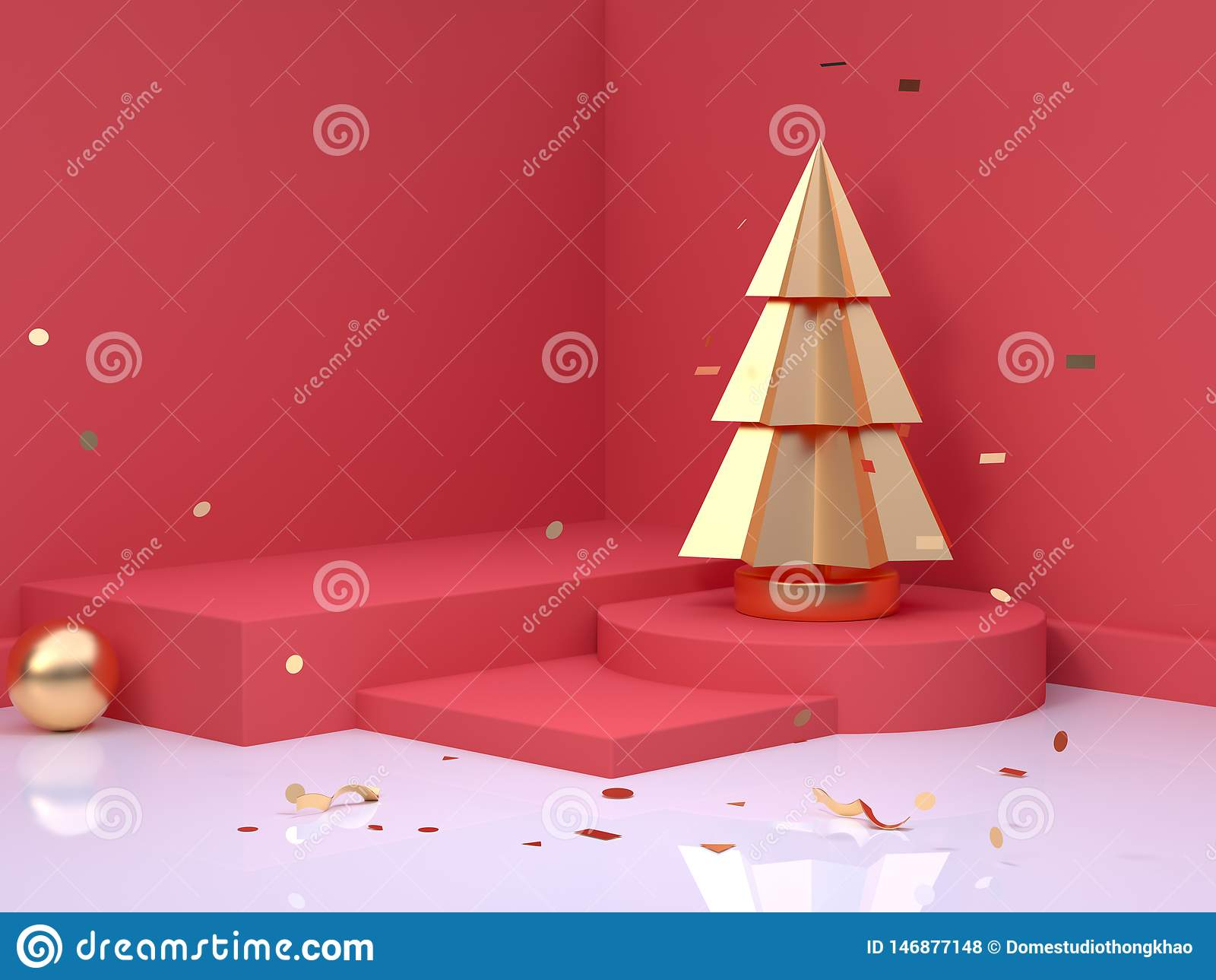Gold Christmas Tree Christmas Holiday New Year Concept 3d Rendering Red Scene Wall Floor Corner Abstract Minimal Stock Illustration Illustration Of Wall Background 146877148