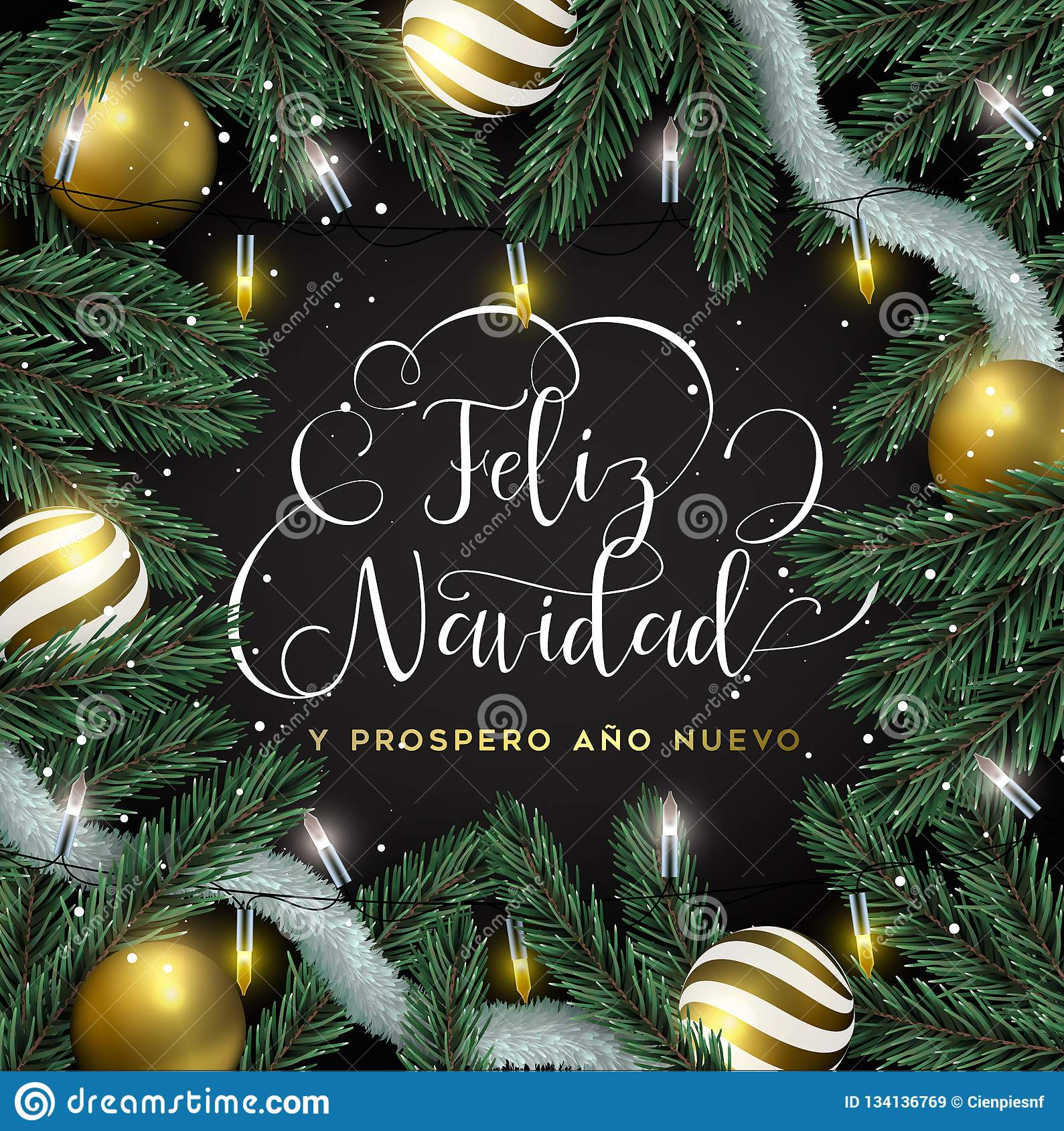 Gold Christmas Tree Ornament Card In Spanish Stock Vector ...