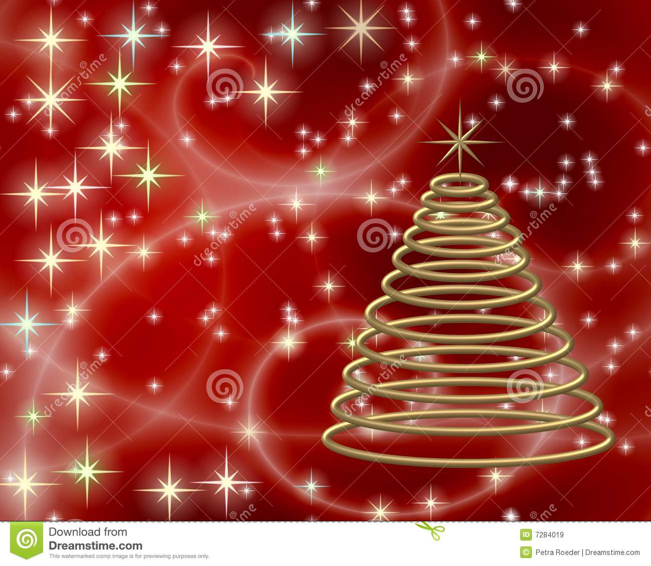 Red And Gold Christmas Trees: Gold Christmas Tree On Red Stock Illustration