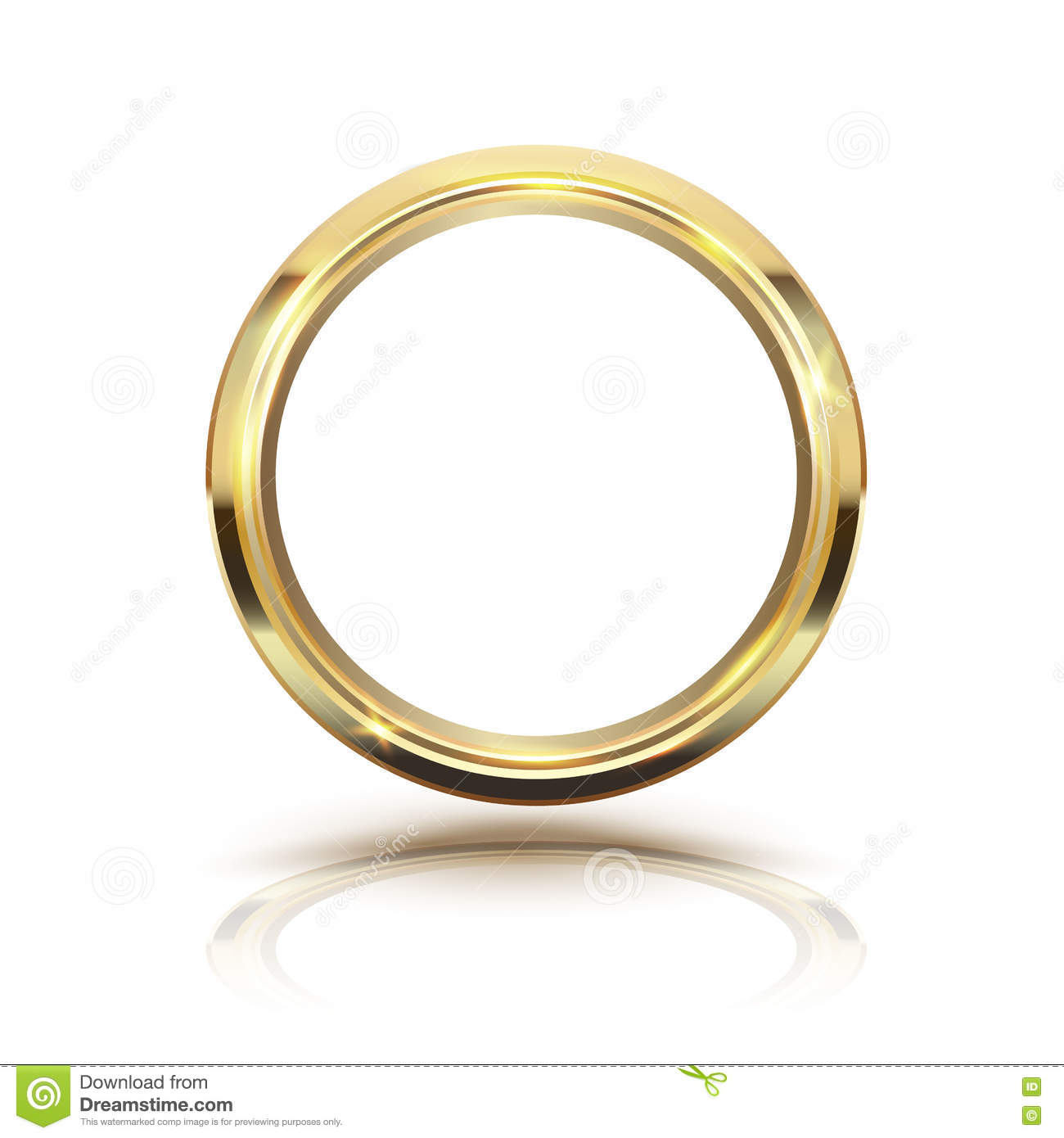 Gold Ring With Circle And Line