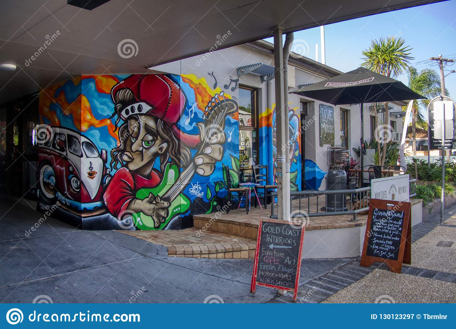 Gold Coast Queensland Australia October 20 2018 Mural Graffiti Wall Art On Front Road Side Entrance Of A Coffee Shop Editorial Photography Image Of Mural Pattern 130123297