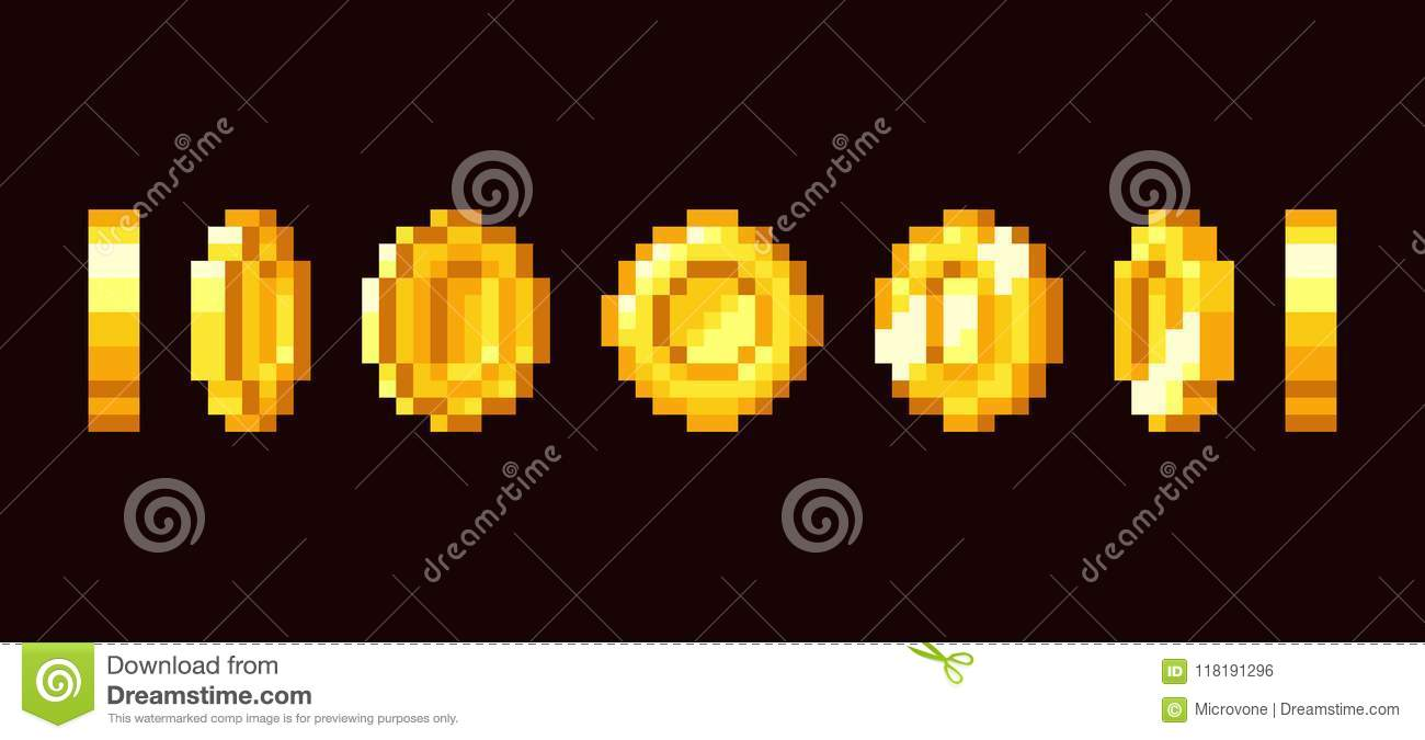 Gold Coin Animation Frames For 16 Bit Retro Video Game  Pixel Art