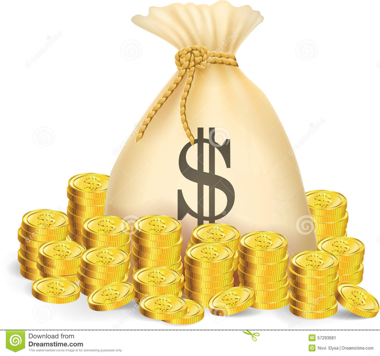 Gold Coin With Bag Of Money Stock Vector - Image: 57293681