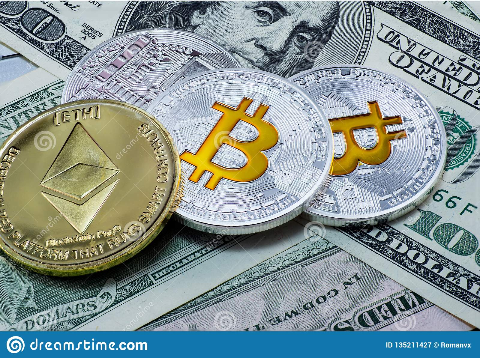 Gold coin etherium and coins bitcoins on the background dollar bills.