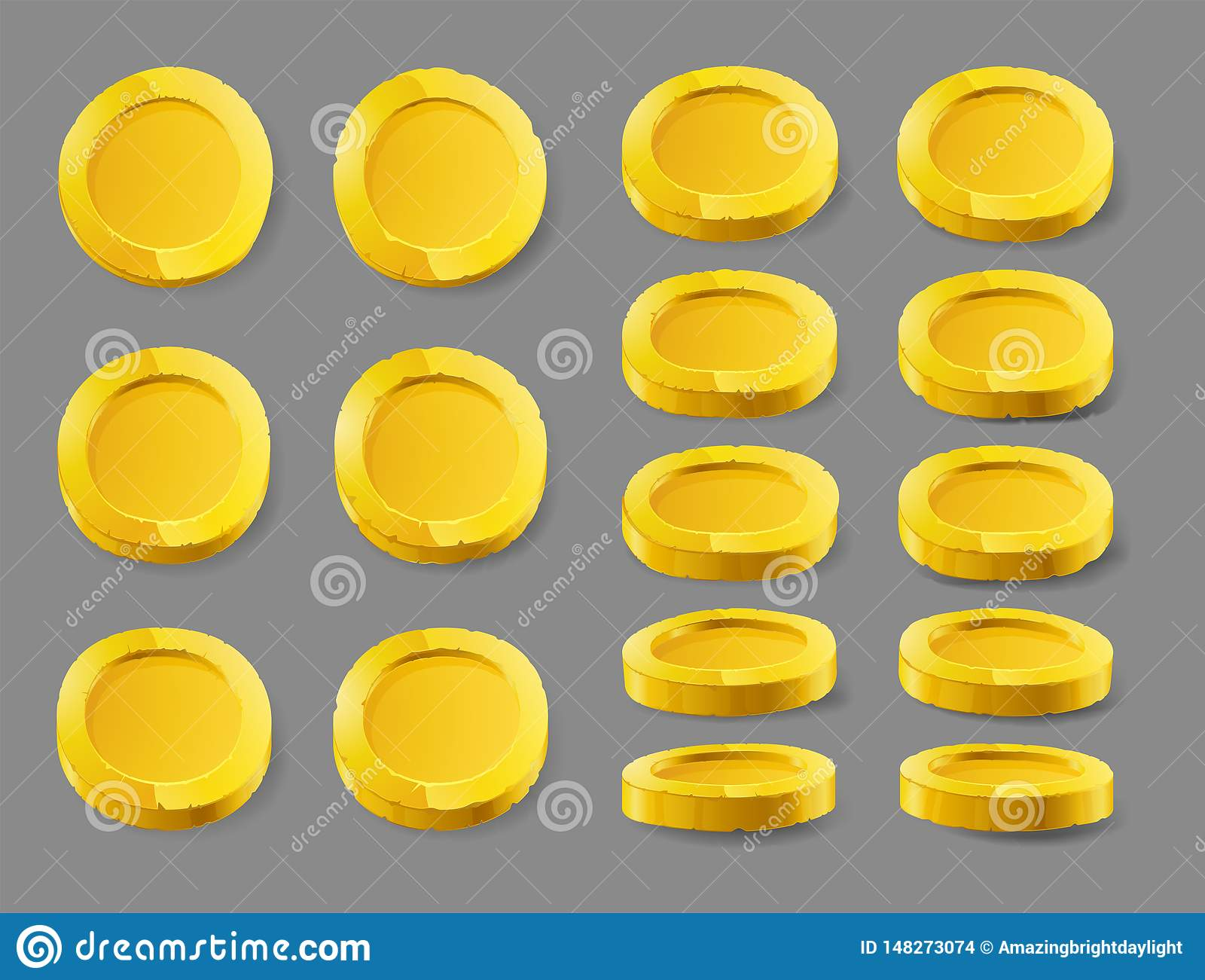 Gold coin. Gold coin isolated on a white background. Gold coin, vector illustration.