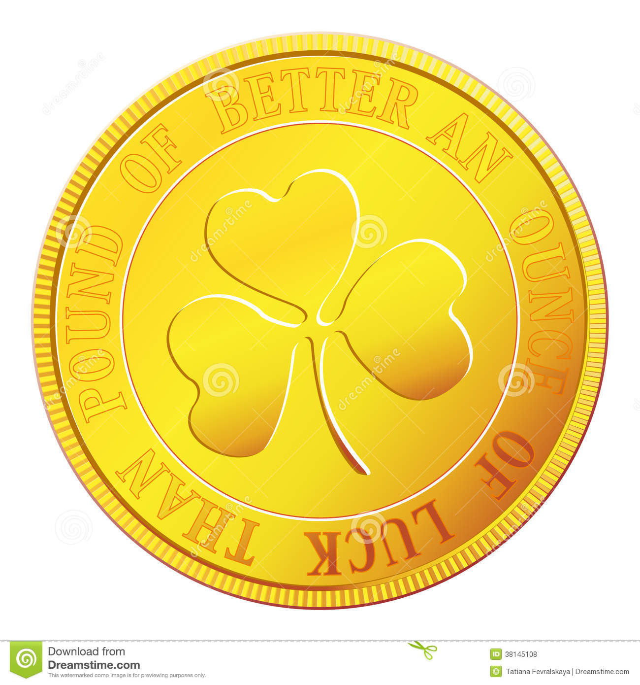 gold coin with shamrock stock vector illustration of