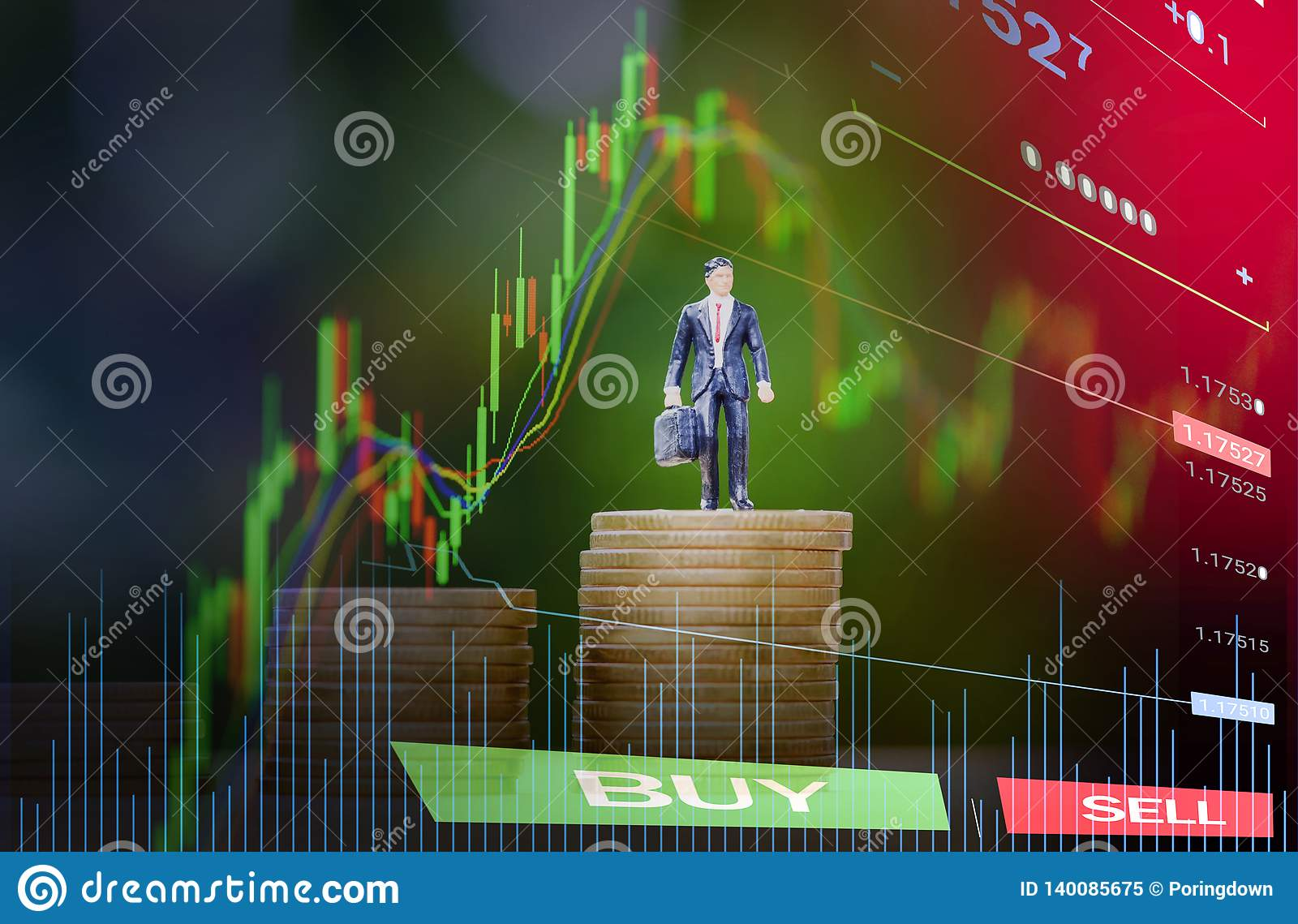 Gold coin step up success planning concept / business man standing on staircase coin money stack success