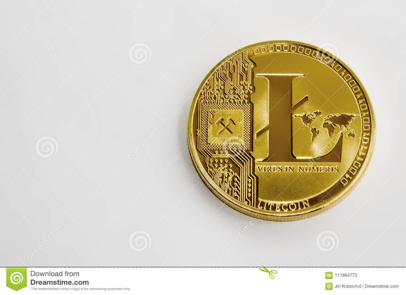 Gold Coin On A White Background Litecoin Stock Image - Image