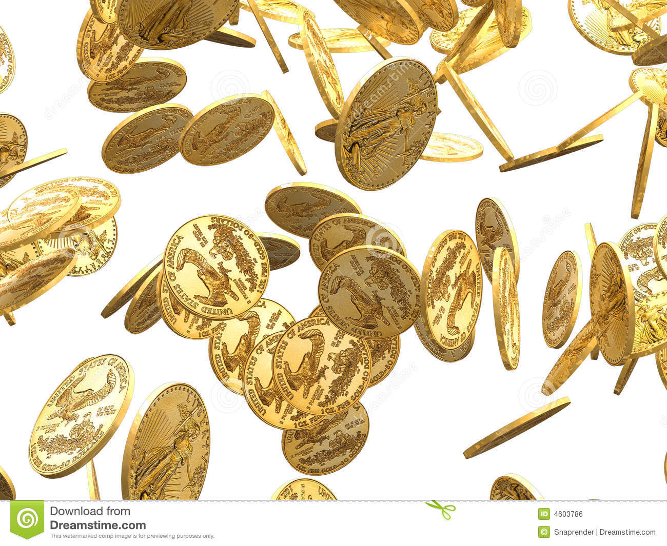 Gold Coins Falling 3d Render Royalty Free Stock Image