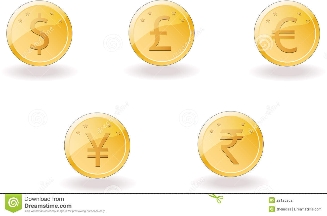 Gold Coins With Foreign Currency Stock Vector Illustration Of