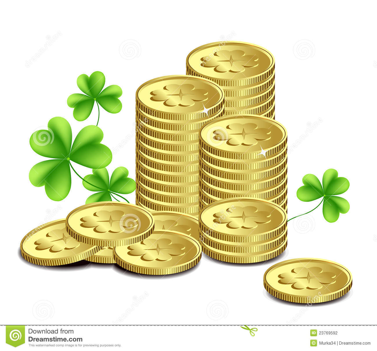 Gold coins and leaves of clover, St. Patrick's Day celebration. vector ...