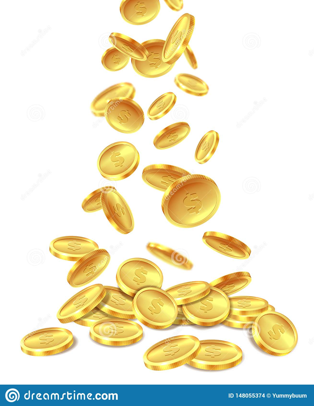 Gold Coins Pile  Golden Coin Money Heap Cash Wealth, Flying Metal
