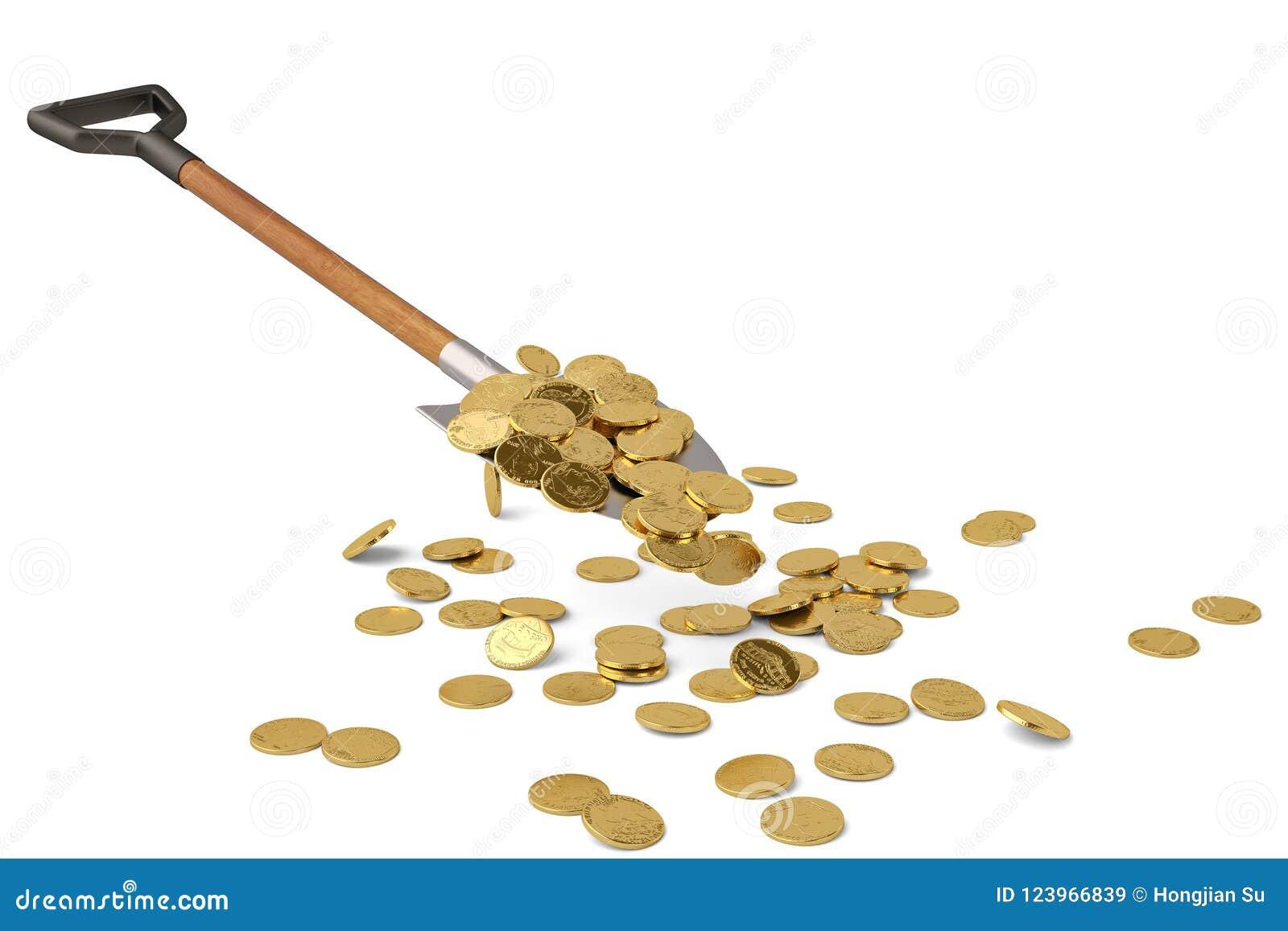 Gold coins on shovel on white background 3D illustration.