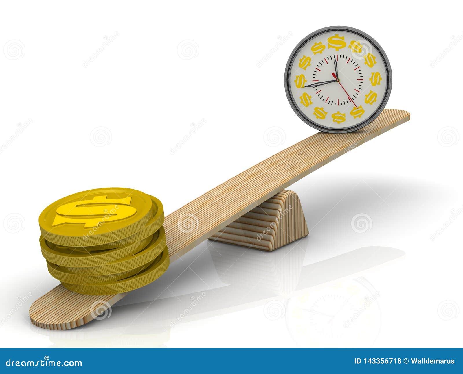 Time-money Balance  Money, But Not Time Stock Illustration