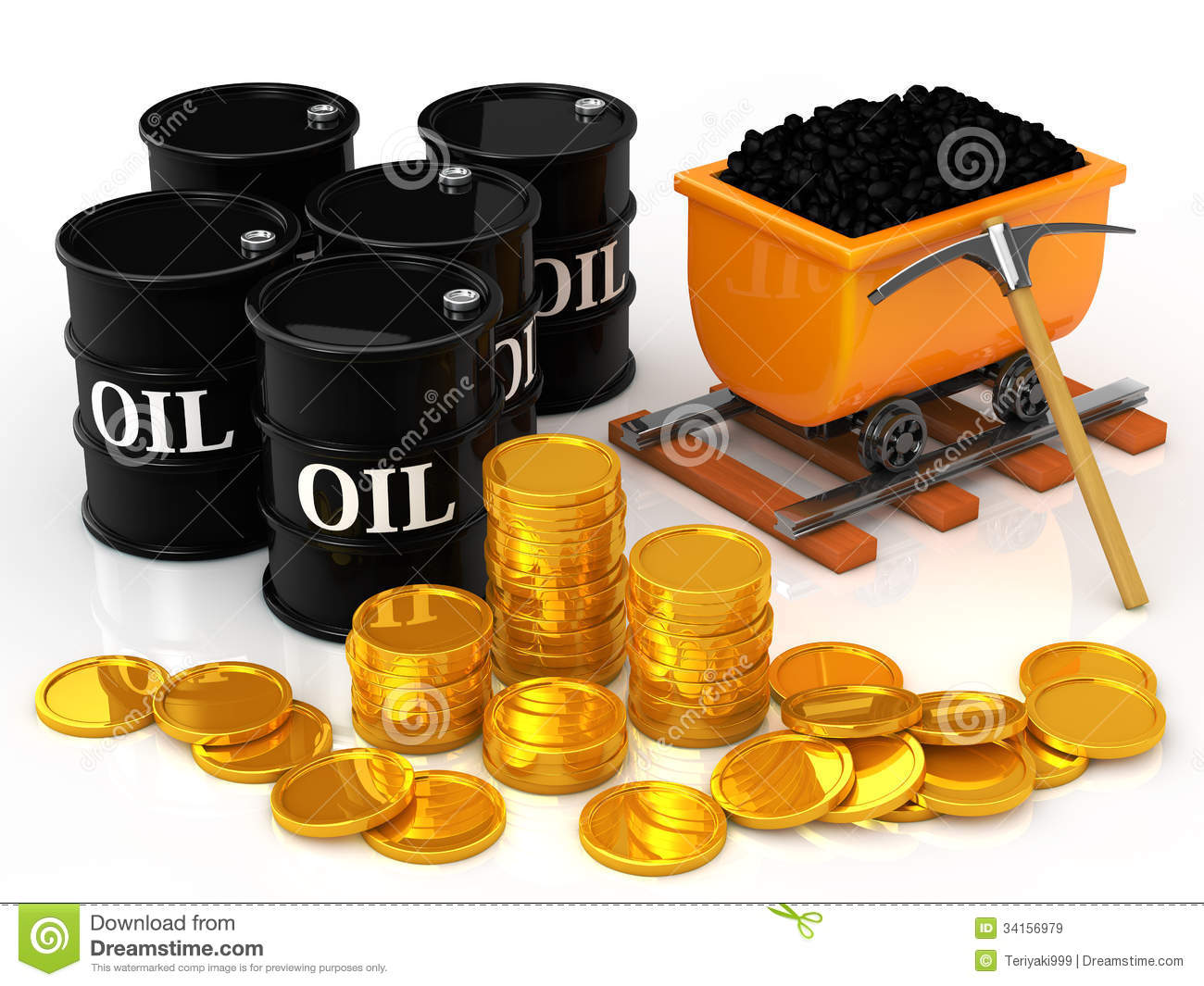 The Gold Coins To Coal And Oil Barrel Stock Illustration
