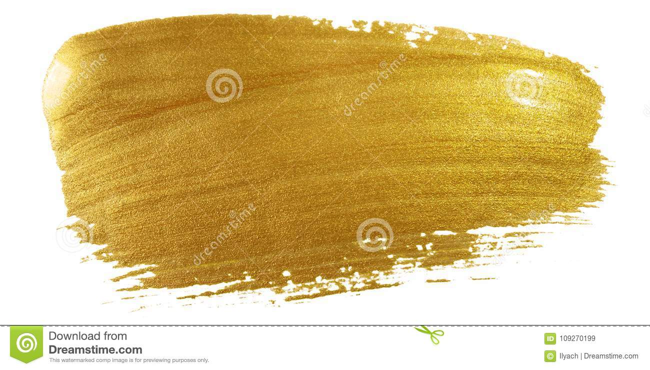 Gold color paint brush stroke. Big golden smear stain background on white backdrop. Abstract detailed gold glittering textured wet