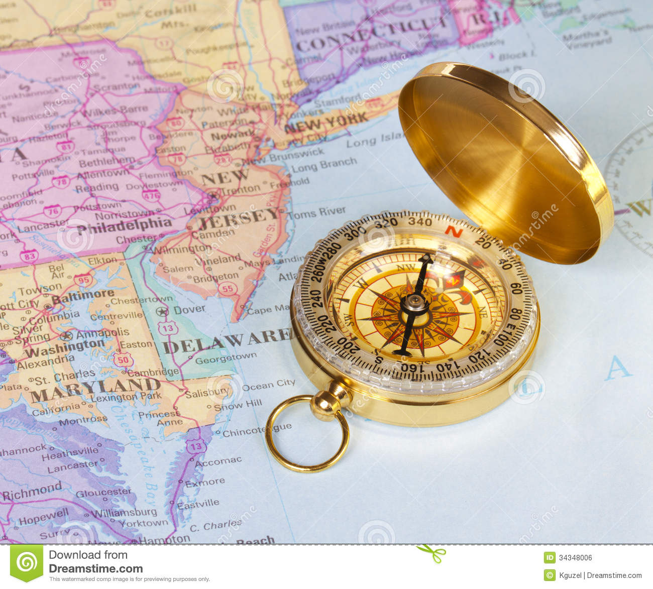 Gold Compass On Map Of United States Stock Photo - Image of journey ...