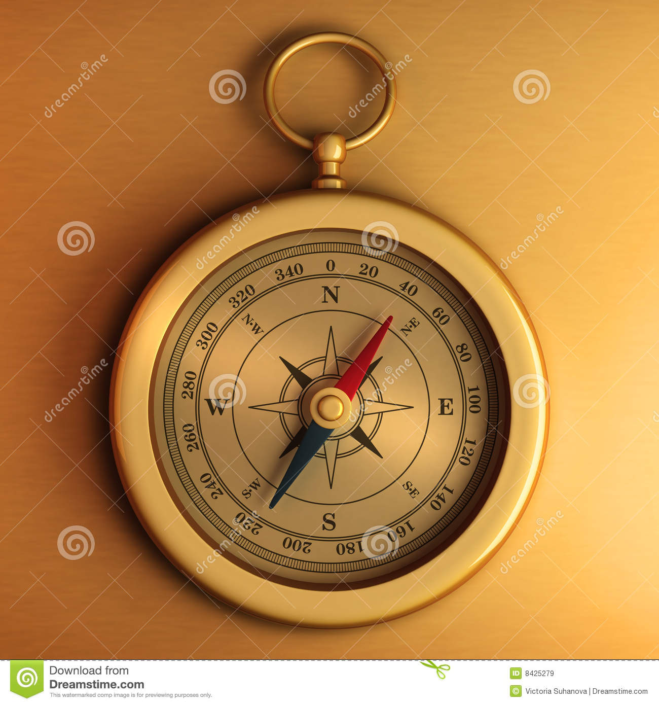 Gold compass on paper