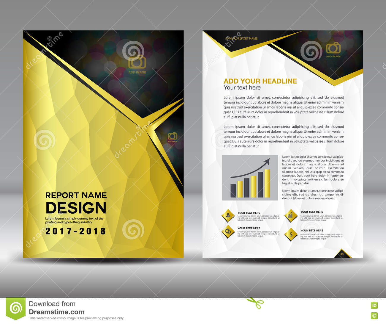 gold cover annual report template stock vector illustration of