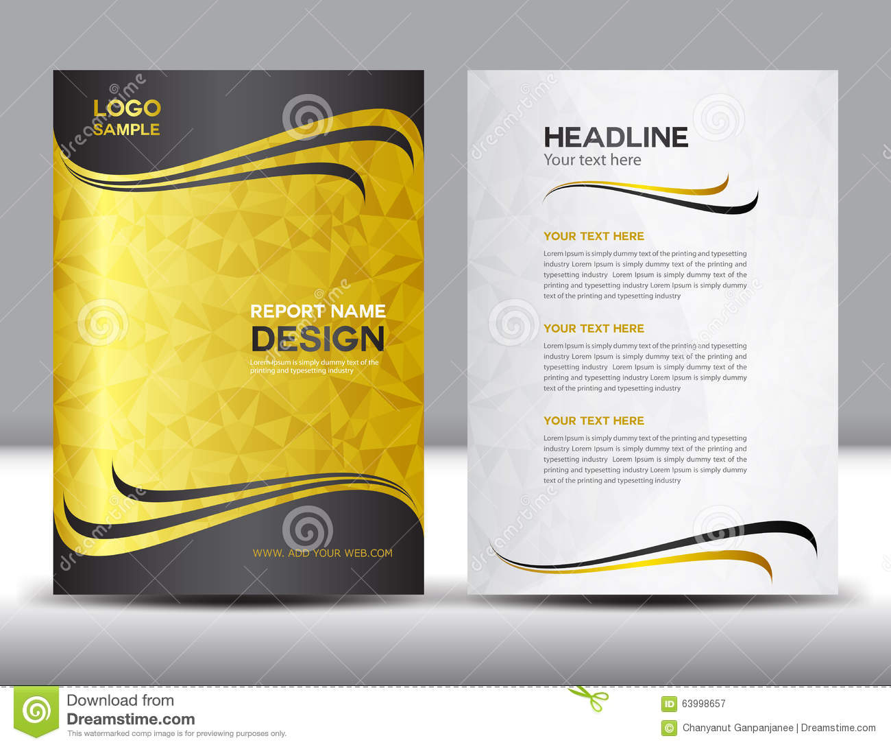 Gold Cover Annual Report Design Vector Illustration  Annual Report Template Design