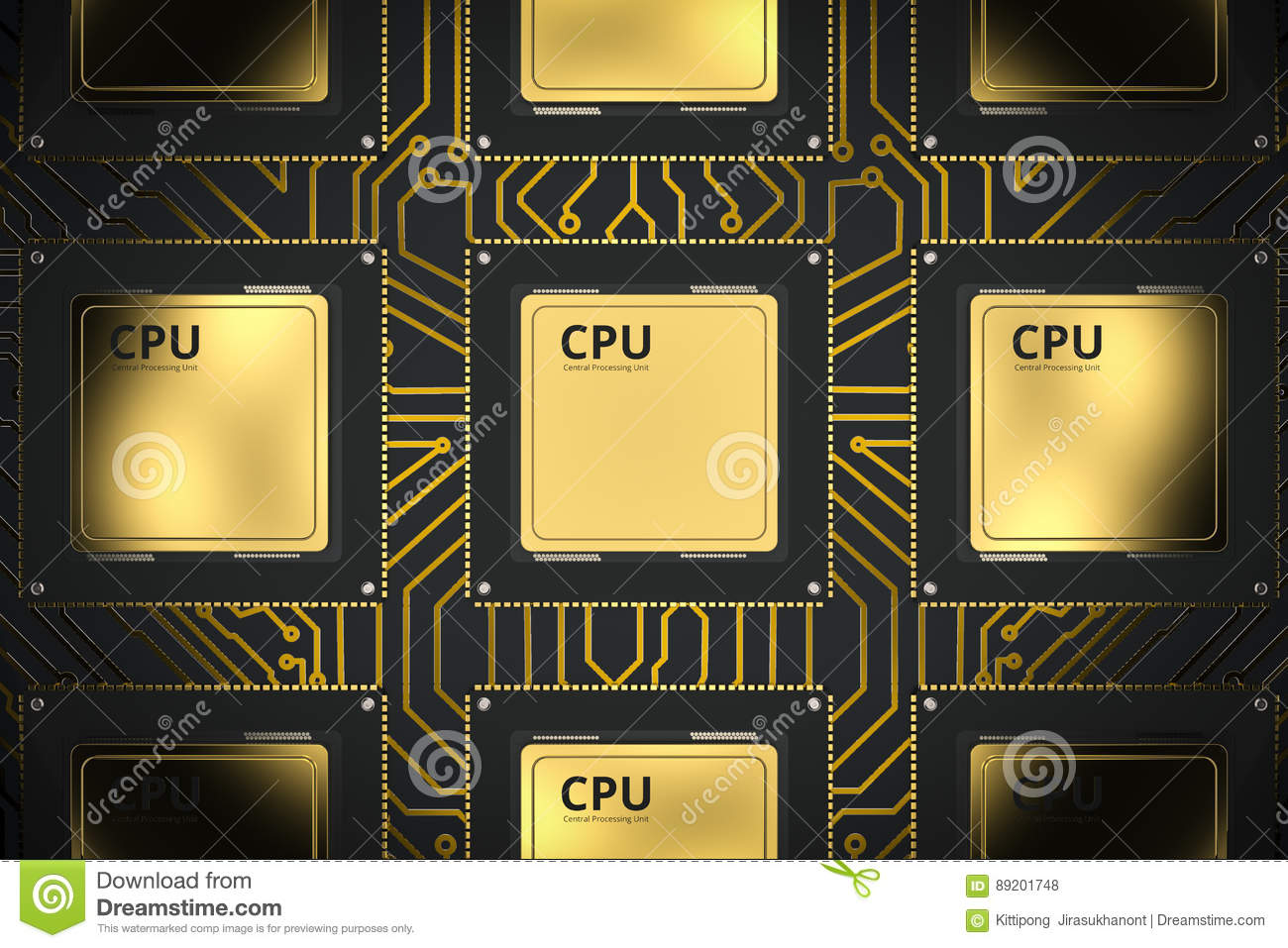 Gold cpu chips in a row
