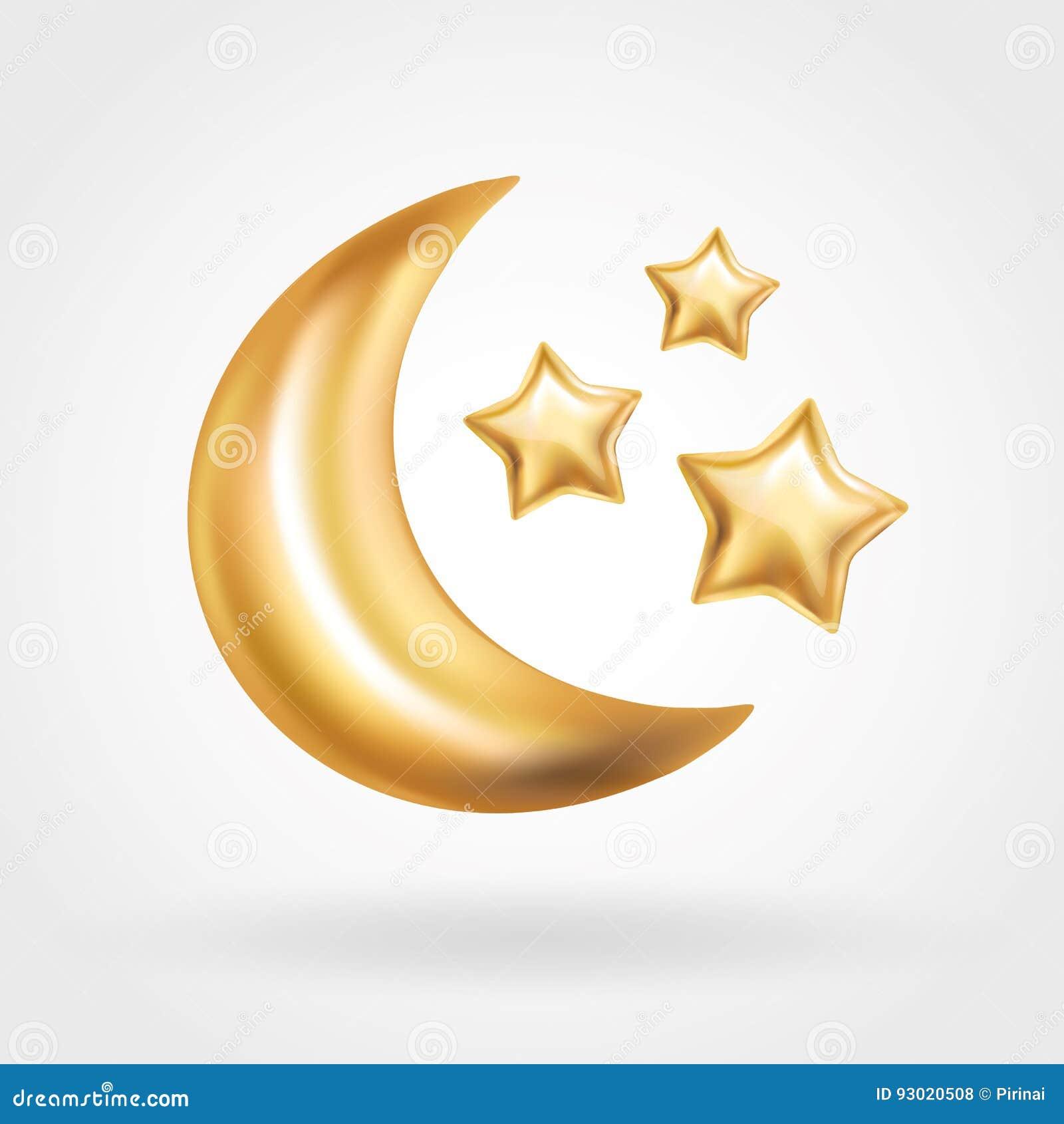 Gold Crescent Moon Star Balloon Ramadan Stock Vector Illustration