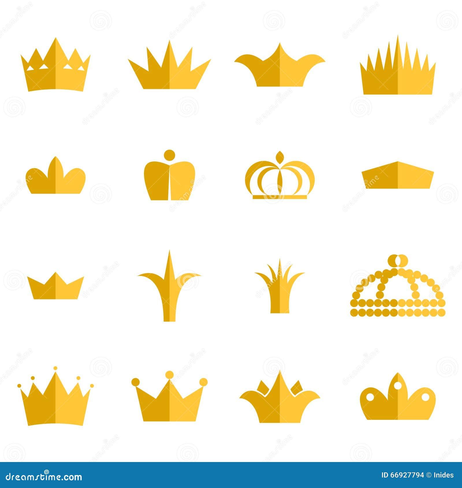 Gold crown clip art vector set.