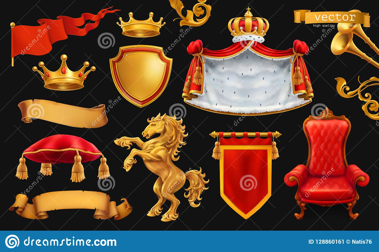 Gold crown of the king. Royal chair, mantle, pillow. 3d vector icon set on black